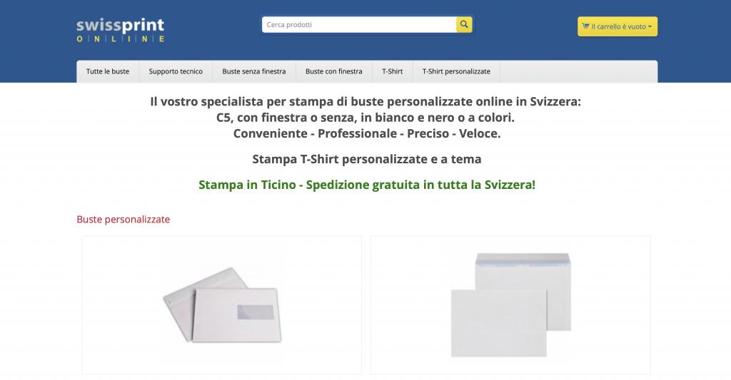 schermata iniziale dello shop swissprint-online.ch